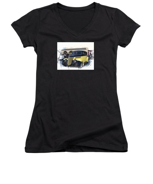 1937 Ford Deluxe Sedan_a2 Women's V-Neck (Athletic Fit)