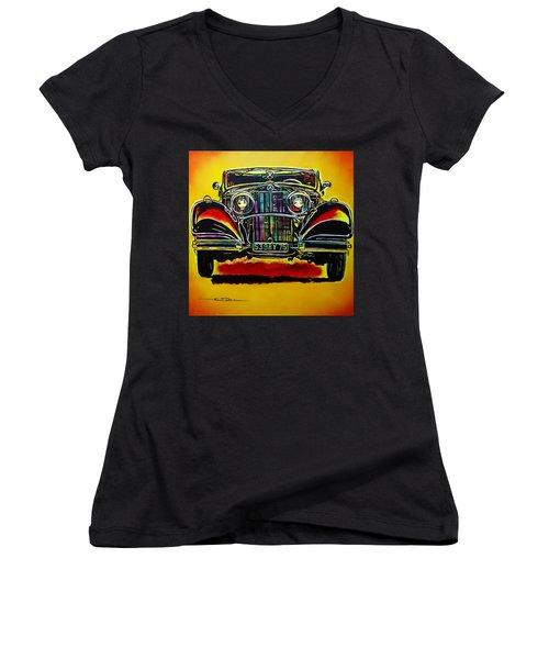 1937 Mercedes Benz First Wheel Down Women's V-Neck T-Shirt (Junior Cut) by Eric Dee