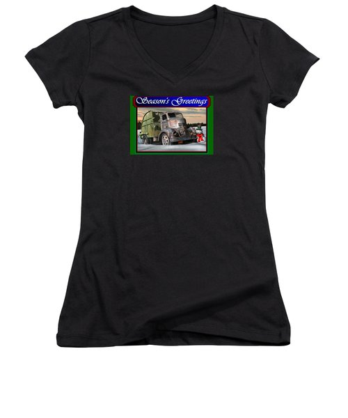 Women's V-Neck T-Shirt (Junior Cut) featuring the digital art 1940 Gmc Christmas Card by Stuart Swartz