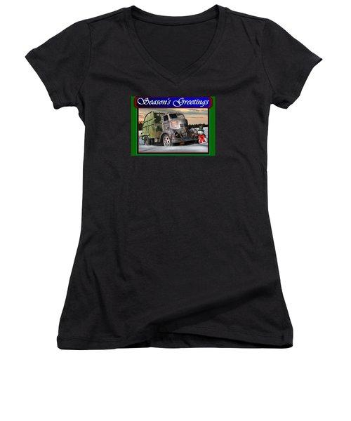 1940 Gmc Christmas Card Women's V-Neck T-Shirt (Junior Cut) by Stuart Swartz
