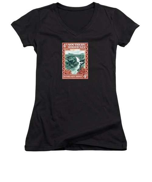 Women's V-Neck T-Shirt (Junior Cut) featuring the painting 1940 Southern Rhodesia Victoria Falls Bridge  by Historic Image