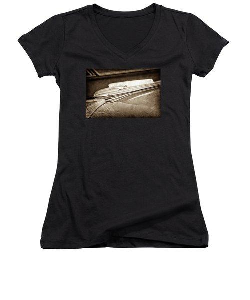 Women's V-Neck T-Shirt (Junior Cut) featuring the photograph 1948 Chevrolet Hood Ornament -0587s by Jill Reger