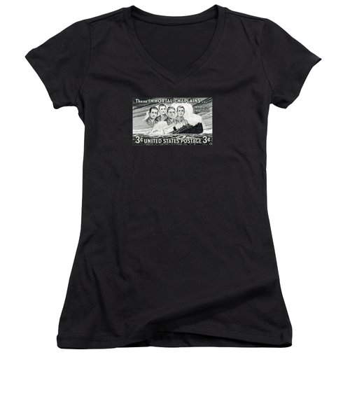 1948 Immortal Chaplains Stamp Women's V-Neck T-Shirt (Junior Cut) by Historic Image