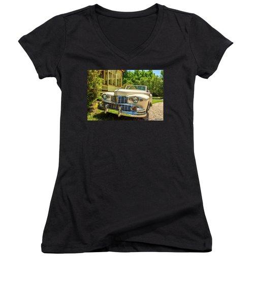 1948 Lincoln Convertible  Women's V-Neck T-Shirt (Junior Cut) by Ken Morris