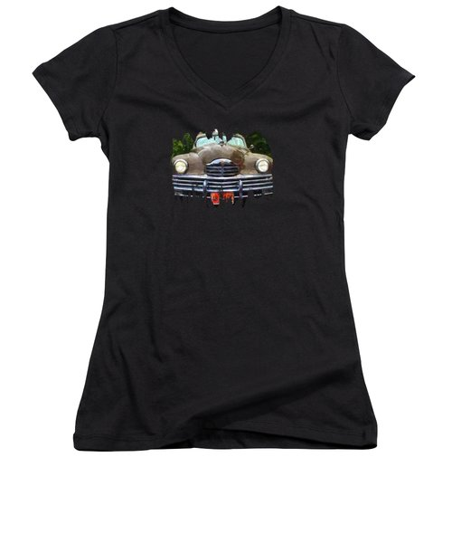 1948 Packard Super 8 Touring Sedan Women's V-Neck T-Shirt (Junior Cut) by Thom Zehrfeld