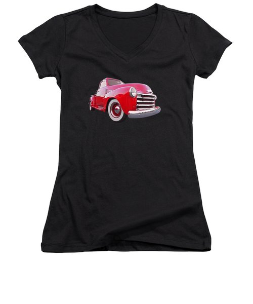 1950 Chevy Pick Up At Sunset Women's V-Neck T-Shirt