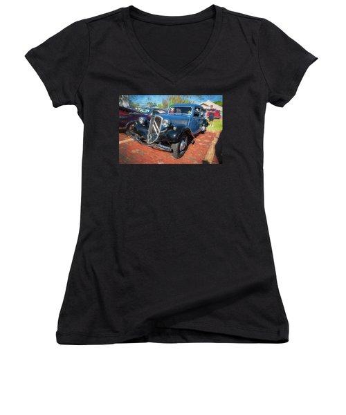 Women's V-Neck T-Shirt (Junior Cut) featuring the photograph 1953 Citroen Traction Avant by Rich Franco