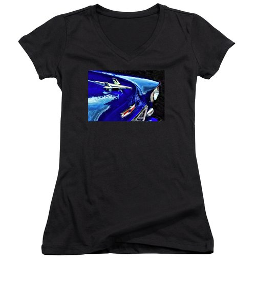 1955 Chevy Bel Air Hard Top - Blue Women's V-Neck T-Shirt (Junior Cut) by Peggy Collins