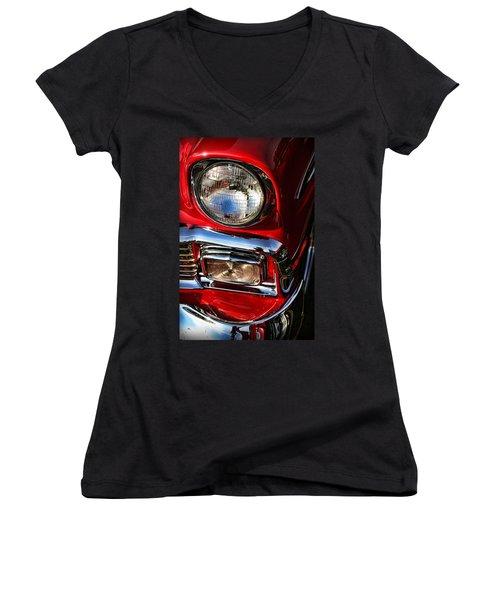 1956 Chevrolet Bel Air Women's V-Neck T-Shirt (Junior Cut) by Gordon Dean II