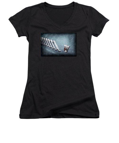 Women's V-Neck T-Shirt (Junior Cut) featuring the photograph 1956 Ford Thunderbird Emblem -0052ac by Jill Reger