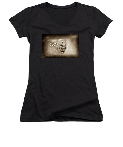 Women's V-Neck T-Shirt (Junior Cut) featuring the photograph 1956 Lincoln Premier Convertible Hood Ornament -0832s by Jill Reger