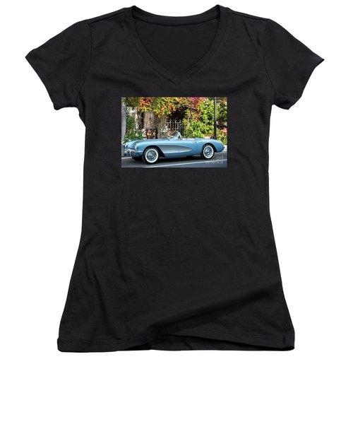 Women's V-Neck T-Shirt (Junior Cut) featuring the photograph 1957 Corvette by Brian Jannsen