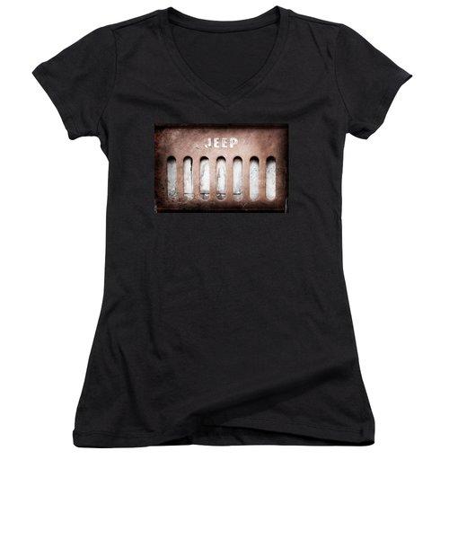 Women's V-Neck T-Shirt (Junior Cut) featuring the photograph 1957 Jeep Emblem -0597ac by Jill Reger