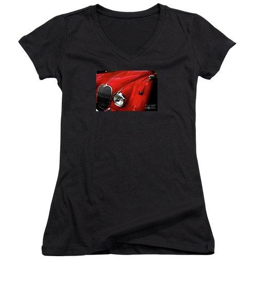 1960s Jaguar Women's V-Neck T-Shirt (Junior Cut) by M G Whittingham