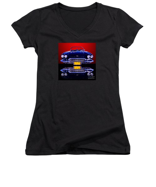 1961 Chevy Corvette Women's V-Neck T-Shirt