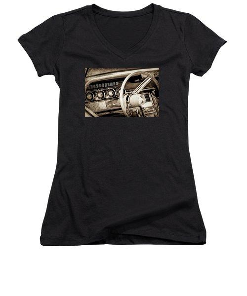 Women's V-Neck T-Shirt (Junior Cut) featuring the photograph 1964 Ford Thunderbird Steering Wheel -0280s by Jill Reger