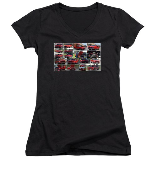 1965 Mustang Fastback Collage Women's V-Neck