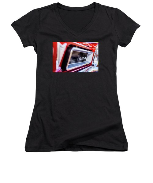 Women's V-Neck T-Shirt (Junior Cut) featuring the photograph 1965 Red Gto Grill by Aloha Art