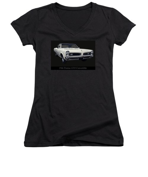 1966 Pontiac Gto Convertible Women's V-Neck T-Shirt