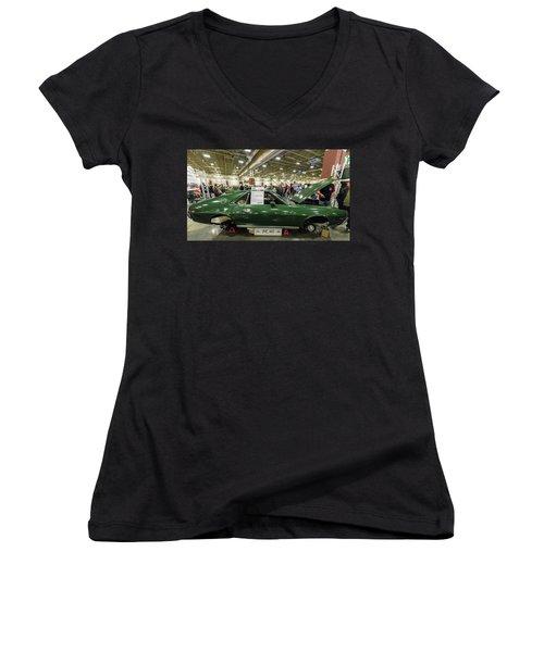 1969 Amc Amx Women's V-Neck T-Shirt (Junior Cut) by Randy Scherkenbach