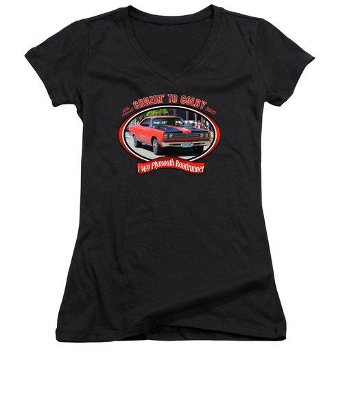 1969 Plymouth Roadrunner Masanda Women's V-Neck T-Shirt