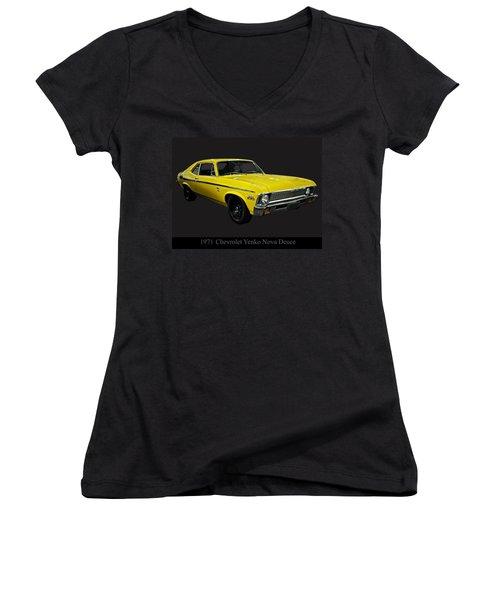1971 Chevy Nova Yenko Deuce Women's V-Neck T-Shirt (Junior Cut) by Chris Flees