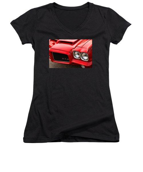 Women's V-Neck T-Shirt (Junior Cut) featuring the photograph 1972 Pontiac Gto by Gordon Dean II