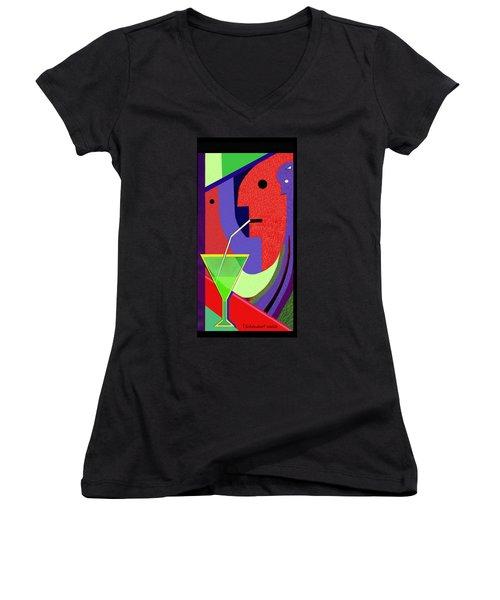 Women's V-Neck T-Shirt (Junior Cut) featuring the digital art 1979 - Party Pop 2017 by Irmgard Schoendorf Welch