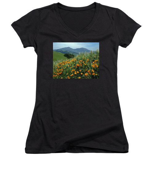 1a6493 Mt. Diablo And Poppies Women's V-Neck T-Shirt