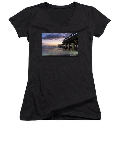 1st Dawn Cocoa Pier Women's V-Neck T-Shirt (Junior Cut) by Jennifer White
