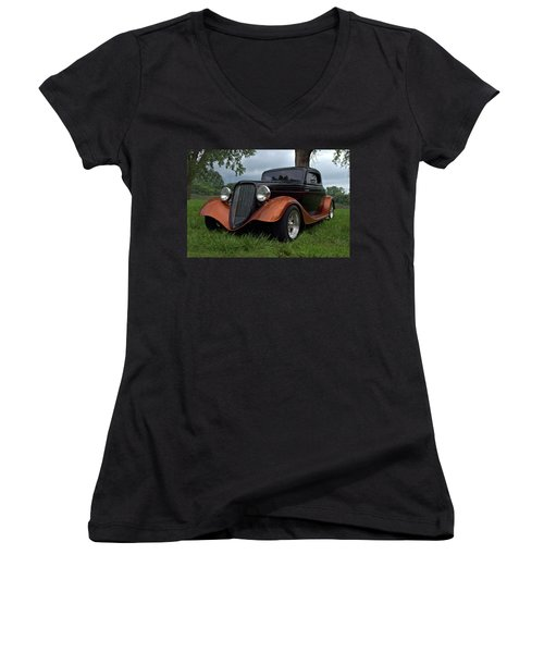1934 Ford Hot Rod Coupe Women's V-Neck