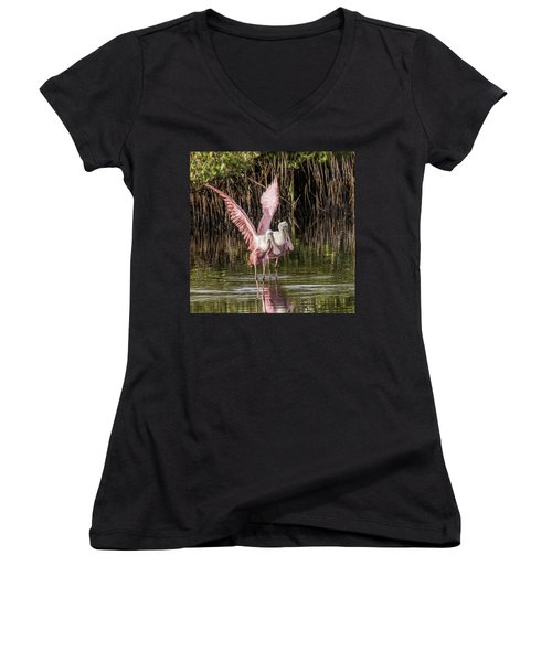 A Pair Of Spoonbills Women's V-Neck (Athletic Fit)