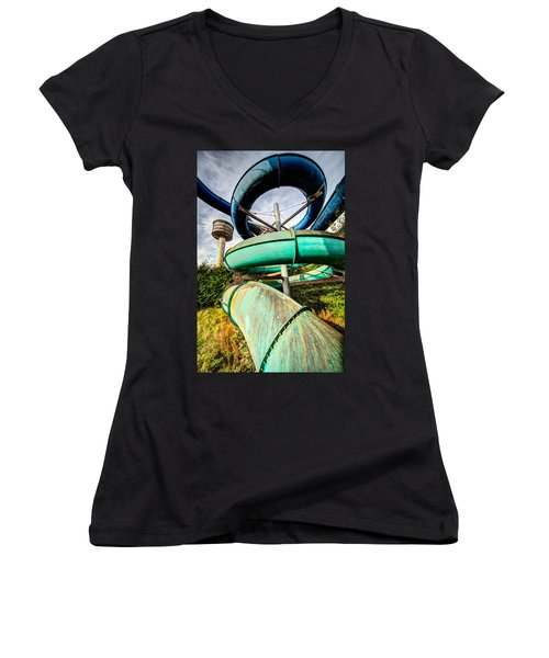 abandoned swimming pool - Urban exploration Women's V-Neck T-Shirt