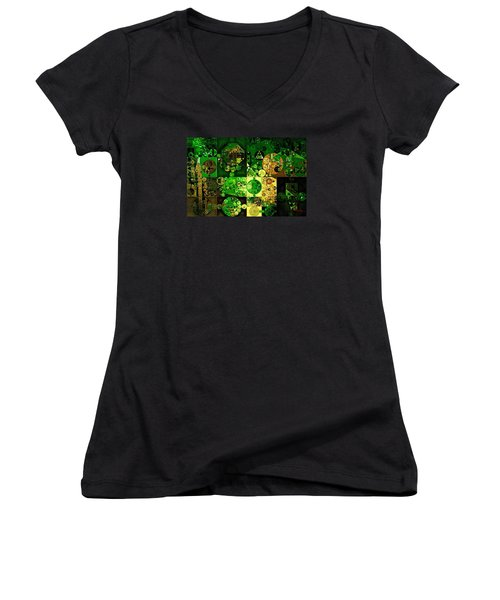 Women's V-Neck T-Shirt (Junior Cut) featuring the digital art Abstract Painting - Dell by Vitaliy Gladkiy