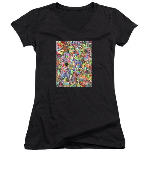 Animated Perspective Of Nocturnal Wandering Women's V-Neck