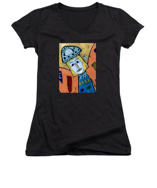 Archangel Zadkiel Women's V-Neck T-Shirt (Junior Cut) by Clarity Artists