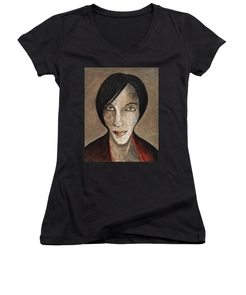 Women's V-Neck T-Shirt (Junior Cut) featuring the mixed media Ash by Steve  Hester
