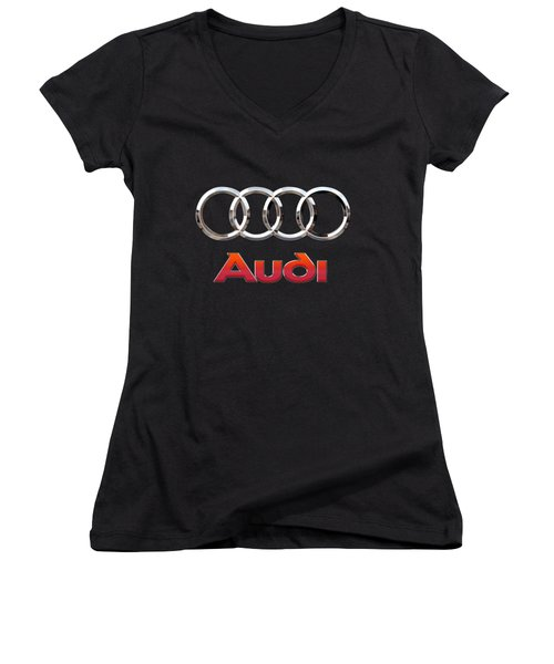 Audi - 3 D Badge On Black Women's V-Neck T-Shirt (Junior Cut) by Serge Averbukh