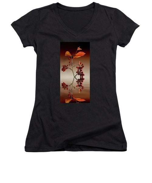 Women's V-Neck T-Shirt (Junior Cut) featuring the photograph Autumn Leafs And Red Berries by David French