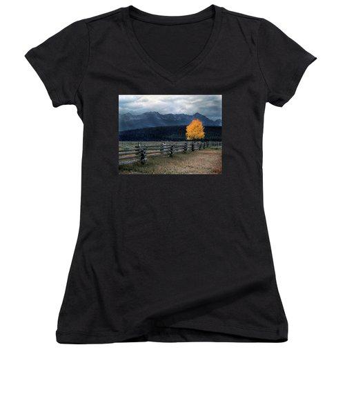 Autumn Light Women's V-Neck T-Shirt (Junior Cut) by Leland D Howard