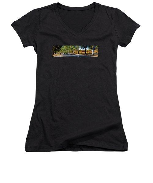 Women's V-Neck T-Shirt (Junior Cut) featuring the photograph Autumn Vines by Bill Robinson