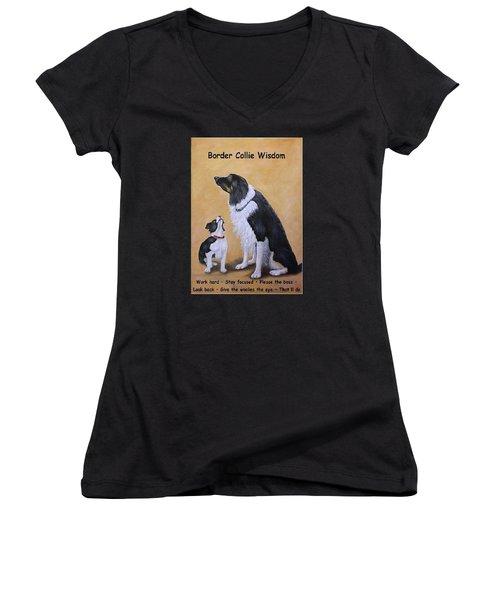 Border Collie Wisdom Women's V-Neck T-Shirt (Junior Cut) by Fran Brooks