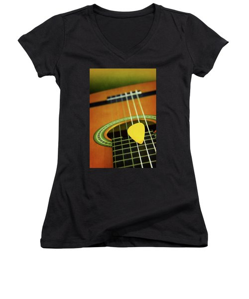 Women's V-Neck T-Shirt (Junior Cut) featuring the photograph Classic Guitar  by Carlos Caetano