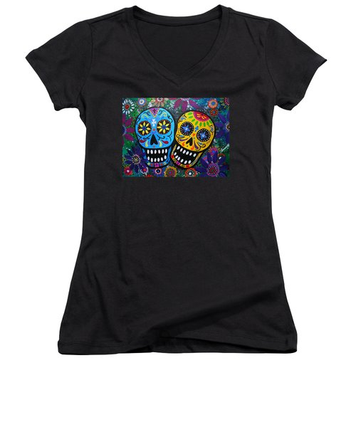 Couple Day Of The Dead Women's V-Neck