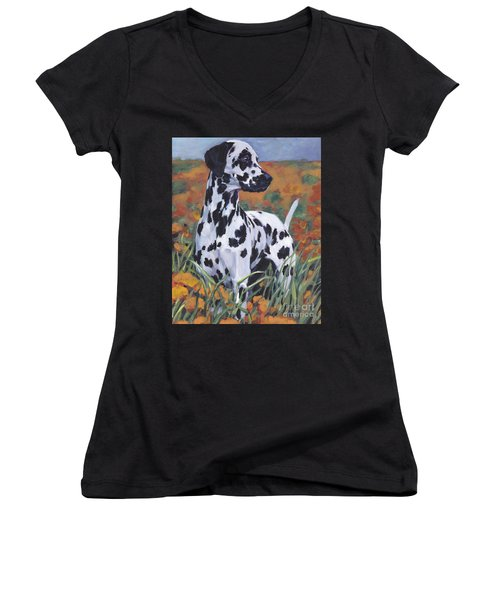 Women's V-Neck T-Shirt (Junior Cut) featuring the painting Dalmatian by Lee Ann Shepard