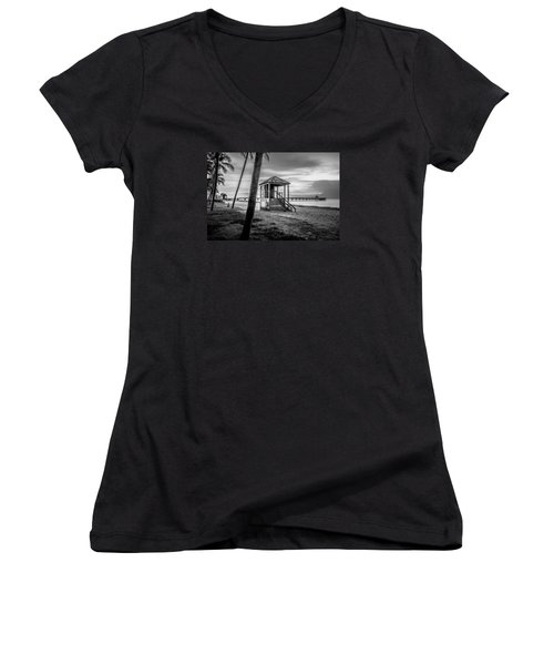 Deerfield Beach  Women's V-Neck T-Shirt (Junior Cut) by Louis Ferreira