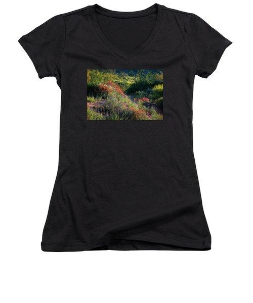 Women's V-Neck T-Shirt (Junior Cut) featuring the photograph Desert Wildflowers  by Saija Lehtonen
