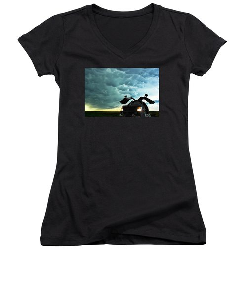 Dominating The Storm Women's V-Neck T-Shirt (Junior Cut) by Ryan Crouse
