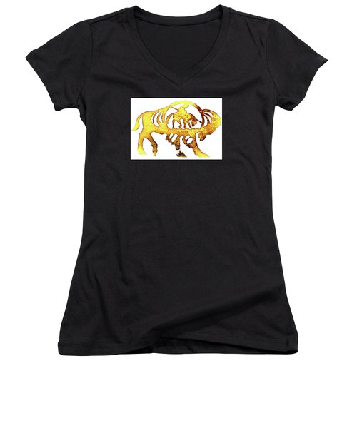 End Of The Trail Women's V-Neck T-Shirt (Junior Cut) by Larry Campbell