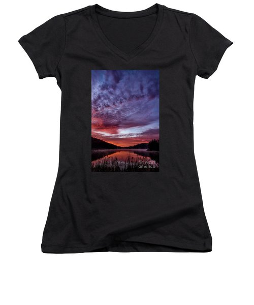 First Light On The Lake Women's V-Neck T-Shirt